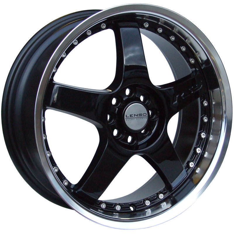 LENSO RS5 7x16 4x108 ET38 BLACK / MIRROR LIP