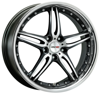 MOTEC PANTERA 9,5x18 5x112 ET30 MATT BLACK POLISHED STAINLESS STEEL LIP