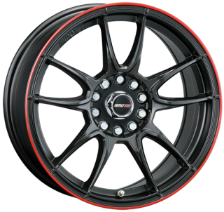 MOTEC MCR1 NITRO 8x15 4x100 ET20 57,1 FLAT BLACK RED RING