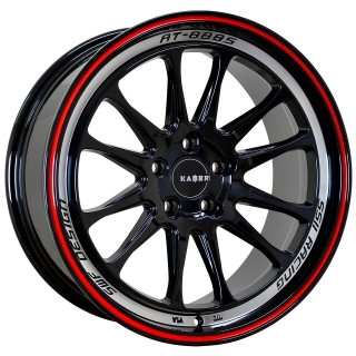 KAMBR 130R 8x18 5x108 ET32-35 GLOSS BLACK POLISHED LIP RED PINSTRIPE