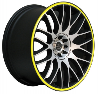 BARRACUDA KARIZZMA 7,5x17 4x98/108 ET38 MATT BLACK POLISHED YELLOW TRIM