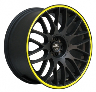 BARRACUDA KARIZZMA 8x18 4x100/108 ET38 MATT BLACK PURESPORTS YELLOW TRIM