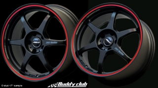 BUDDY CLUB P1 RACING SF 7x15 4x100 ET40 BLACK+RED