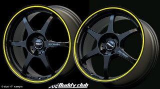 BUDDY CLUB P1 RACING SF 7x16 4x100 ET42 BLACK+YELLOW